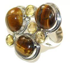 Tiger's Eye & Citrine Cluster Ring : Tiger's Eye Gemstone Ring