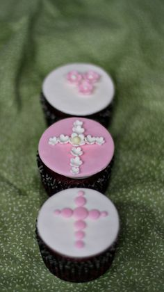 Fondant Baptism Cross and Flower Toppers for Decorating Baptism Celebration Cupcakes, Cookies or Brownies. $18.00, via Etsy.