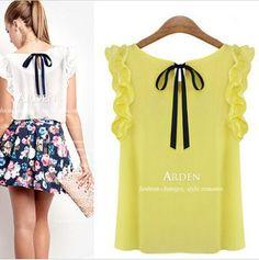 tamanho s-xl novo 2014 blusa feminina camisa de chiffon o- pescoço pullover folha de lótus arco laço frete grátis US $4.98