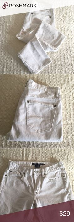 "White skinny denim White skinny fit denim. Thompson skinny. Waist-15"". Rise-9"". Inseam-31"". 99% cotton and 1% elastane. Ralph Lauren Pants Skinny"