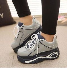 0bb1105fd05 Ladies Lace up High Platform Round Toe Athletic Sneakers Shoes Trainers  Sports a
