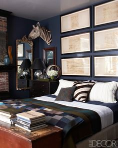 Uber Masculine without being 1990's bachelor.  Single men - this is what your bedroom should look like. From Trent Wisehart via Elle Decor