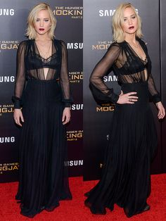 """Jennifer Lawrence Bares Lace Bra in Gothic Schiaparelli Couture Gown and Tamara Mellon Heels at """"Mockingjay 2"""" NY Premiere"""