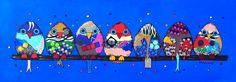 'Birds' acryl op doek, afmeting 165x60