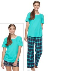 Juniors' SO® Pajamas: Flannel Pants, Shorts & Short Sleeve Top 3-Piece PJ Set, Teens, Size: M Short, Dark Blue