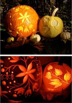 gorgeous pumpkin carving ideas  oh, this is a really cute idea. Something different than just the normal pumpkin face.