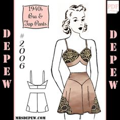 Vintage Sewing Pattern 1940's Pauline Matching Bra and Tap Panties #2006 PDF Print at Home -INSTANT DOWNLOAD-