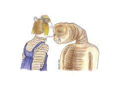 Paula Sosa Holt, Drew Barrymore, illustration, drawing, fanzine, dibujo, E.T., films, movies
