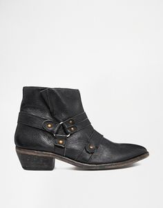 H BY HUDSON  VOW STRAPPED ANKLE BOOTS #BLACKBOOTS