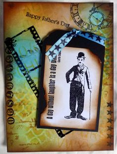 Deep Red (Charlie Chaplin stamp) Inkylicious (Film Strip). Stamped on Acitate (not easy). For the background I used Tim Holtz products. I only wish he would produce a Charlie Chaplin stamp set, that would be wonderful