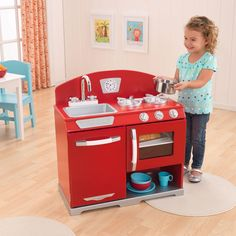 Red Retro Kitchen Stove & Oven Kids Wooden Play Set
