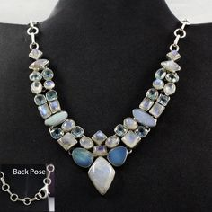 MULTI STONE !! PRETTY LOOK 925 STERLING SILVER NECKLACE #SilvexImagesIndiaPvtLtd #Necklace