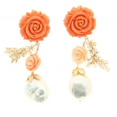 Earrings from Maria Sole collection Romantic earring with carving on coral paste baroque pearls and crystals, unique . #earrings #mariasole #fashion #design #unique #style #handmade #luxmadein #handmadejewelery #madeinitaly #italianstyle #earring #fashionista #outfit #accessories #ring #necklace #pendant