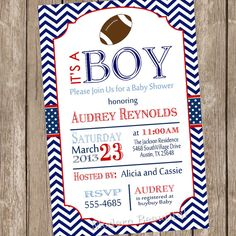 Chevron football baby shower invitation, football, red, navy, printable, digital file