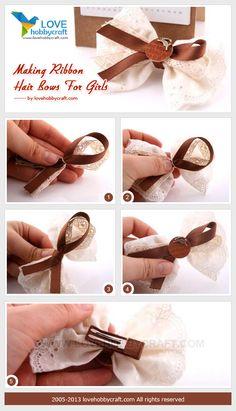 Making ribbon hair bows for girls