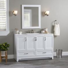 Style Selections 48.5-in White Single Sink Bathroom Vanity with White Cultured Marble Top and Mirror at Lowes.com White Vanity Bathroom, Single Sink Bathroom Vanity, Bathroom Vanity Cabinets, Mirror Vanity, Bathroom Vanities, Bathrooms, Quartz Vanity Tops, Marble Vanity Tops, Marble Top
