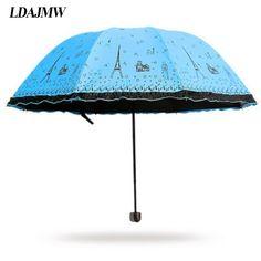 LDAJMW Hot Korean Princess Appollo Paris tower Umbrellas sunshade Super Anti-UV Umbrellas Sun Protection Parasols Rain Umbrella