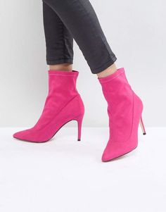 Shop Faith Bow Hot Pink Suede Sock Boots at ASOS. Hot Pink Shoes, Pink Ballet Shoes, Pink Heels, Cute Shoes, Bow Boots, Pink Boots, Flat Boots, Black And White Boots, Slouchy Ankle Boots