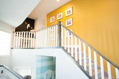 I did three feature walls in the main area of the house. These walls are where I really went for it with color. Our home is open concept so all my colors had to work together but I didn`t want any… Hallway Colours, Stairs, Inspiration, Home Decor, Biblical Inspiration, Stairway, Decoration Home, Room Decor, Staircases