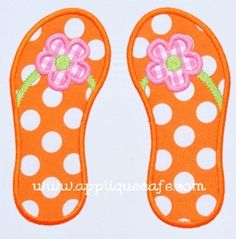 Flower Flip Flops Applique Design