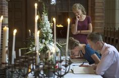 People sign a condolence register at St. Vitus church in Hilversum, Netherlands, Sunday, July 20, 2014. An attack on a Malaysian jetliner shot down over Ukraine on Thursday killed 298 people from nearly a dozen nations, more than half being Dutch. (AP Photo/Patrick Post) ▼20Jul2014AP|Distraught Dutch mother: 'Send my children home' http://bigstory.ap.org/article/prayers-across-netherlands-ukraine-crash-dead #MH17 #Hilversum