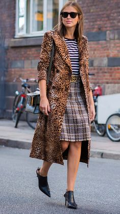all three prints in one - plaid, stripes, leopard. somehow she pulled it off! #CPHFW Vogue.com