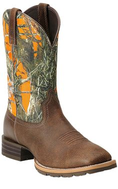 Ariat Hybrid Rancher Brown with Orange True Timber Camo Top Square Toe Cowboy Boot