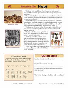 Worksheets: Native American Tribes: Hopi