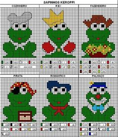 EMBROIDERY – CROSS-STITCH / BORDERIE / BORDUURWERK – FROG / GRENOUILLE / KIKKER - Keroppi Frogs patterns