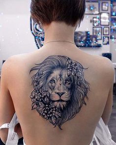 Lion back tattoo, lion woman tattoo, girl back tattoos, lion Badass Tattoos, Head Tattoos, Cute Tattoos, Flower Tattoos, Body Art Tattoos, Sleeve Tattoos, Girl Tattoos, Lion Tattoo With Flowers, Woman Tattoos