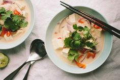 Tom Kha Tofu (Thai Coconut Soup) - This is perfect for a chilly winter night. Check it out over at www.athoughtforfood.net @athoughtforfood #vegan #soup