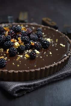 Dark Chocolate Tart with Blackberries