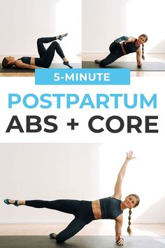 Build strong core muscles at home with this no equipment, 5-minute beginner ab workout! Target the upper abs, lower abs and obliques; and build foundational core strength used to stabilize your body during daily activities. This5-minute ab workout iseffective because all 5 ab exercises use the core tostabilize your body as you move your arms and legs in different directions -- from toe taps todead bug and planks. Add this ab workout to your fitness routine 1-3 times a week! 5 Minute Abs Workout, Abs Workout Video, Ab Workout At Home, At Home Workouts, Post Baby Workout, Post Pregnancy Workout, Fit Pregnancy, Core Exercises For Beginners, Ab Exercises