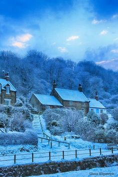 England Travel Inspiration - Whitby covered by snow - Sandsend Cottages, North Yorkshire, England, UK