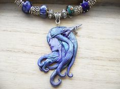 Night Elf Pendant- handmade ooak necklace polymer clay World of Warcraft blue purple alliance- fantasy cosplay wow gothic Hidden Treasury