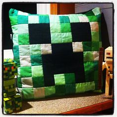 Minecraft Creeper pillow which I crafted today.  sssssssSSSSS.....BOOM. by CoraQuilts~Carla, via Flickr - That's a very nice 'everything' you have there... It would be a shame if something were to happen to it... >;)