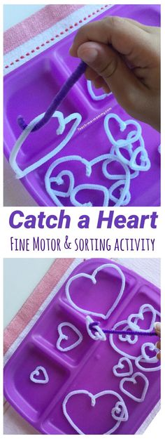 Catch a heart fine motor and sorting activity! A great fine motor tray for toddlers this February! #finemotorskills #February #toddlers