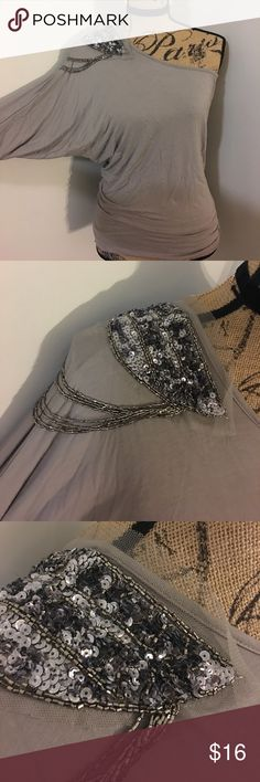 One shoulder beaded top Beautiful and unique top with one shoulder. Has beading and beautiful mesh. Great for a night out! Forever 21 Tops