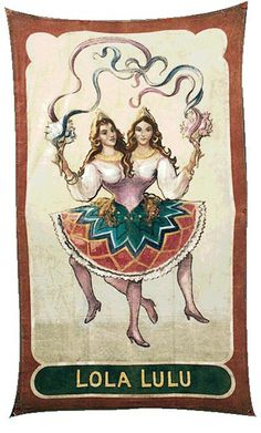 "Stock Photo - Circus banner of ""Lola Lulu"" the two headed girl"