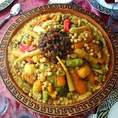 couscous on platter with veggies