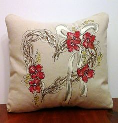Decorative Pillow Cover Hand-painted Heart by SippingIcedTea
