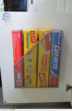 Wire magazine holder for Saran Wrap, Wax Paper, Aluminum Foil, etc.