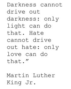 Darkness cannot drive out darkness: only light can do that.  Hate cannot drive out hate: only love can do that. -MLK