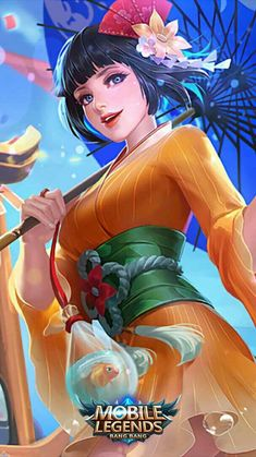 ML Wallpaper - Kagura Summer Festival Heroes Mage of Skins Fantasy Characters, Female Characters, Anime Characters, Mobile Legend Wallpaper, Hero Wallpaper, Mobiles, Game Character, Character Design, Miya Mobile Legends