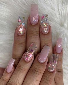 23 Clear Acrylic Nails That Are Super Trendy Right Now | Page 2 of 2 | StayGlam #AcrylicNailsGlitter Cute Acrylic Nail Designs, Clear Acrylic Nails, Simple Acrylic Nails, Summer Acrylic Nails, Acrylic Art, Pink Clear Nails, Baby Pink Nails Acrylic, Clear Nail Designs, Crystal Nails