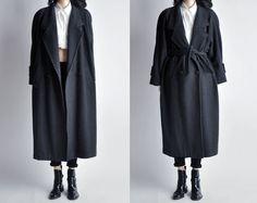 rain dogs trench style wool coat / long winter coat / oversized wool coat / m / 546o