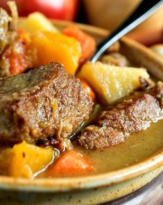 Autumn Pork Stew - Tender chunks of pork, apples, potatoes and butternut squash are combined to create the ultimate comfort food! Greek Recipes, Whole 30 Recipes, Pork Recipes, Cooking Recipes, Pork Stew, Pork Meat, Greek Cooking, Oven Dishes, Savoury Dishes