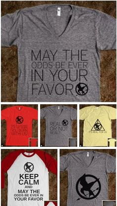 Hunger Games shirts for the midnight premiere. (Via http://skreened.com/itsrealforus/)