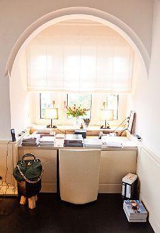 desk in window nook