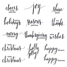 A set of digital, hand lettered holiday phrase overlays / clip art with phrases for Christmas, Thanksgiving, and New Year. Calligraphy Letters, Typography Letters, Modern Calligraphy, Calligraphy Classes, Lettering Tutorial, Brush Lettering, Lettering Ideas, Penmanship, Digital Stamps